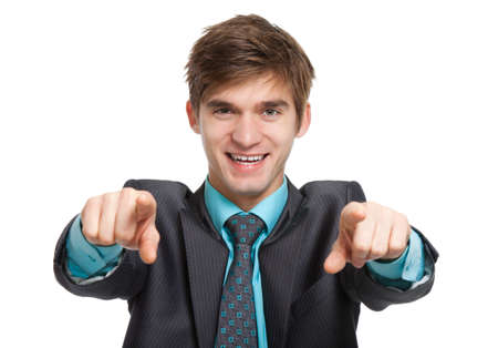 young business man point finger at you, smile photo