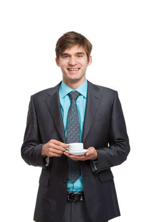 businessman hold coffee cup happy smile isolated Stock Photo - 12586265