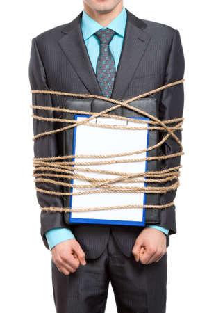 businessman executive tied up with rope with briefcase blank clipboard photo