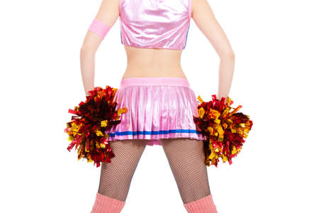 Cheerleader with pompoms full length girl wearing pink uniform