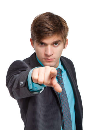 young business man point finger at you photo