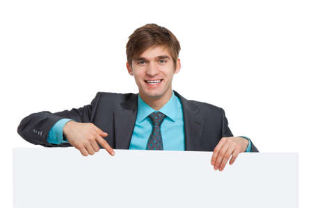 businessman holding a blank white card board, signboard Stock Photo - 12769452