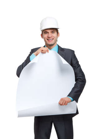 businessman  architect holding a blank white card board, signboard photo