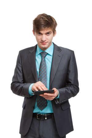 businessman use calculator smile isolated over white background photo