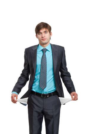 Hose: Business-Mann Verwendung Kommunikator, Lesen einer Kurzmitteilung und l�chelnd