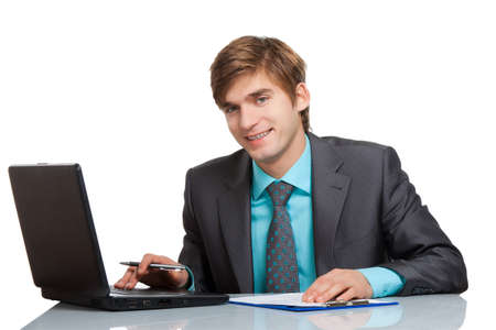 Business man use communicator, reading a text message and smiling photo