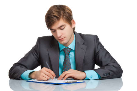undersign: businessman sitting at the desk isolated over white