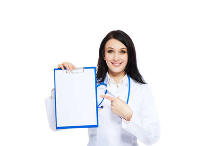 medical doctor woman smile nurse with stethoscope white background photo