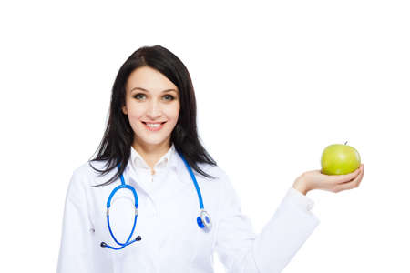nutritionist: medical doctor woman smile nurse with stethoscope white background