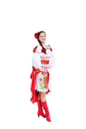 beautiful girl in ukrainian polish national traditional clothes Stock Photo - 13242997