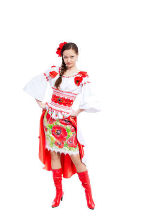 beautiful girl in ukrainian polish national traditional clothes Stock Photo - 13243087