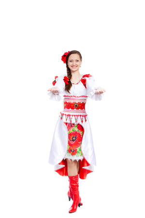 beautiful girl in ukrainian polish national traditional clothes Stock Photo - 13243008