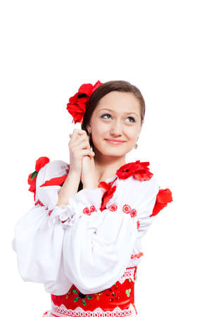beautiful girl in ukrainian polish national traditional clothes Stock Photo - 13243114