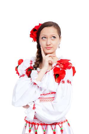 beautiful girl in ukrainian polish national traditional clothes Stock Photo - 13243148