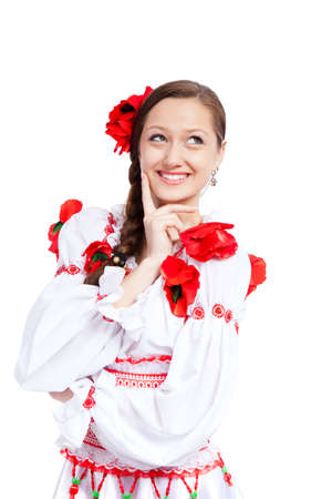 beautiful girl in ukrainian polish national traditional clothes Stock Photo - 13243143
