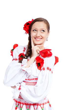 beautiful girl in ukrainian polish national traditional clothes Stock Photo - 13243143