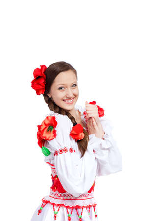 beautiful girl in ukrainian polish national traditional clothes Stock Photo - 13243111