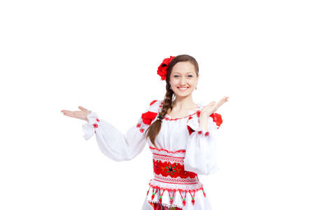 beautiful girl in ukrainian polish national traditional clothes Stock Photo - 13243040