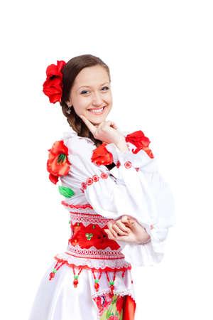 beautiful girl in ukrainian polish national traditional clothes Stock Photo - 13243140