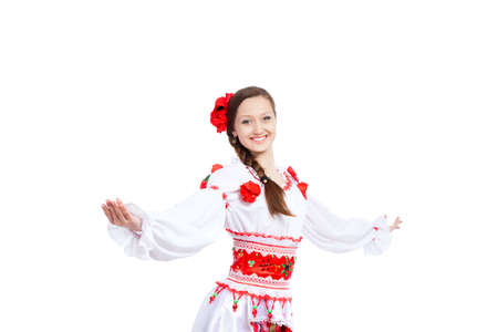 beautiful girl in ukrainian polish national traditional clothes Stock Photo - 13243006