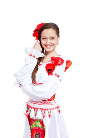 beautiful girl in ukrainian polish national traditional clothes Stock Photo - 13243109