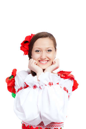 beautiful girl in ukrainian polish national traditional clothes Stock Photo - 13243135