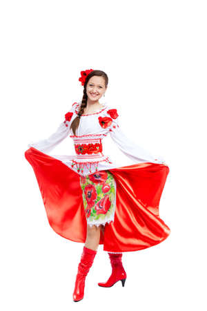 beautiful girl in ukrainian polish national traditional clothes Stock Photo - 13243091