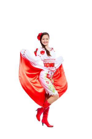 beautiful girl in ukrainian polish national traditional clothes Stock Photo - 13243050