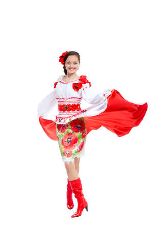 beautiful girl in ukrainian polish national traditional clothes photo