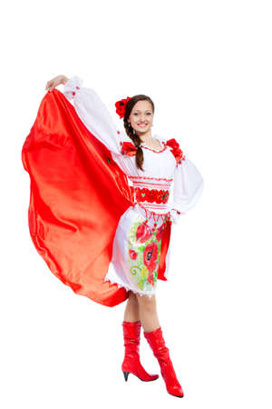 beautiful girl in ukrainian polish national traditional clothes Stock Photo - 13243110