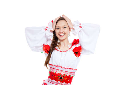 beautiful girl in ukrainian polish national traditional clothes Stock Photo - 13243093