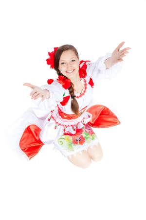 beautiful girl in ukrainian polish national traditional clothes photo