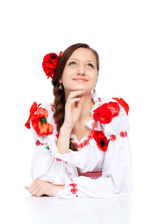beautiful girl in ukrainian polish national traditional clothes Stock Photo - 13243139