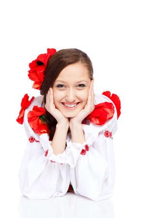 beautiful girl in ukrainian polish national traditional clothes Stock Photo - 13243134