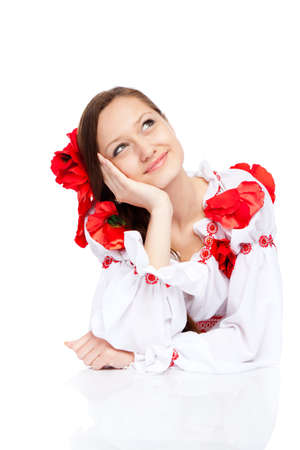 beautiful girl in ukrainian polish national traditional clothes Stock Photo - 13243121