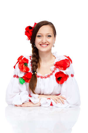 beautiful girl in ukrainian polish national traditional clothes Stock Photo - 13243146