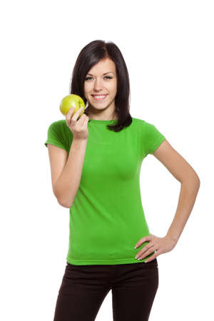 pretty woman in gree shirt isolated over white background Stock Photo - 13243086