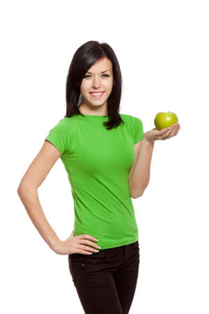 pretty woman in gree shirt isolated over white background Stock Photo - 13243065