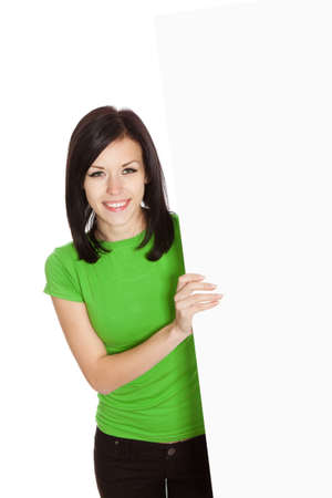 smile woman standing hold pointing her finger at a blank board Stock Photo - 13243071
