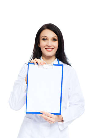 medical doctor woman smile nurse with stethoscope white background Stock Photo - 14025381