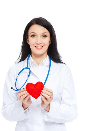 medical doctor woman smile nurse with stethoscope white background photo