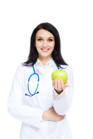 medical doctor woman smile nurse with stethoscope white background