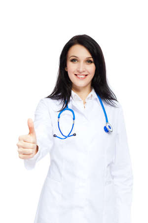 medical doctor woman nurse with stethoscope white background photo