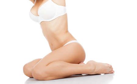 Beautiful female body white panties pink flower long leg photo