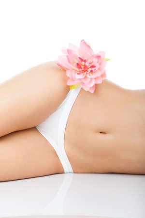 white panties: Beautiful female body wei�es H�schen rosa Blume langen Bein