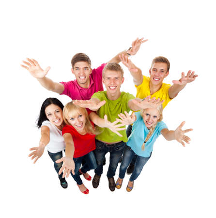 hands raised: group of young people Stock Photo