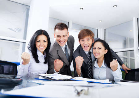 excited business woman: Business people