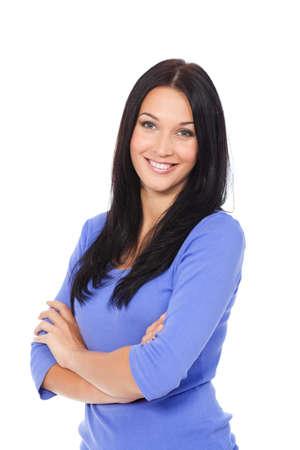 fondo blanco: mujer bonita, joven y atractiva retrato de la muchacha