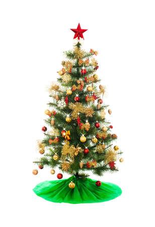 holiday symbol: Natale verde albero simbolo di vacanza isolato su sfondo bianco Archivio Fotografico
