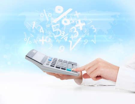 calculator business woman accountant hand, concept finance percent blue background 版權商用圖片 - 23719644